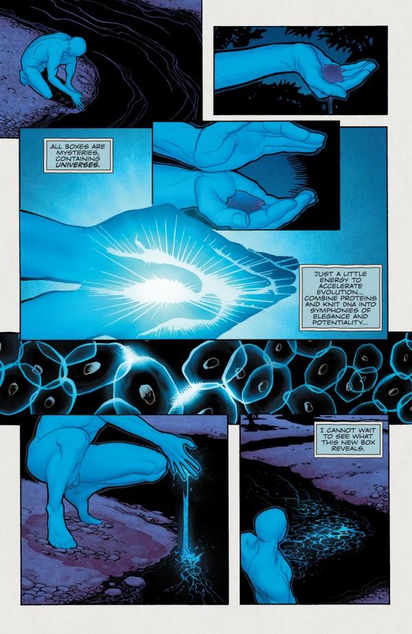 Doctor Manhattan creates the DC Universe; via Watchmen/DC Comics, Inc.