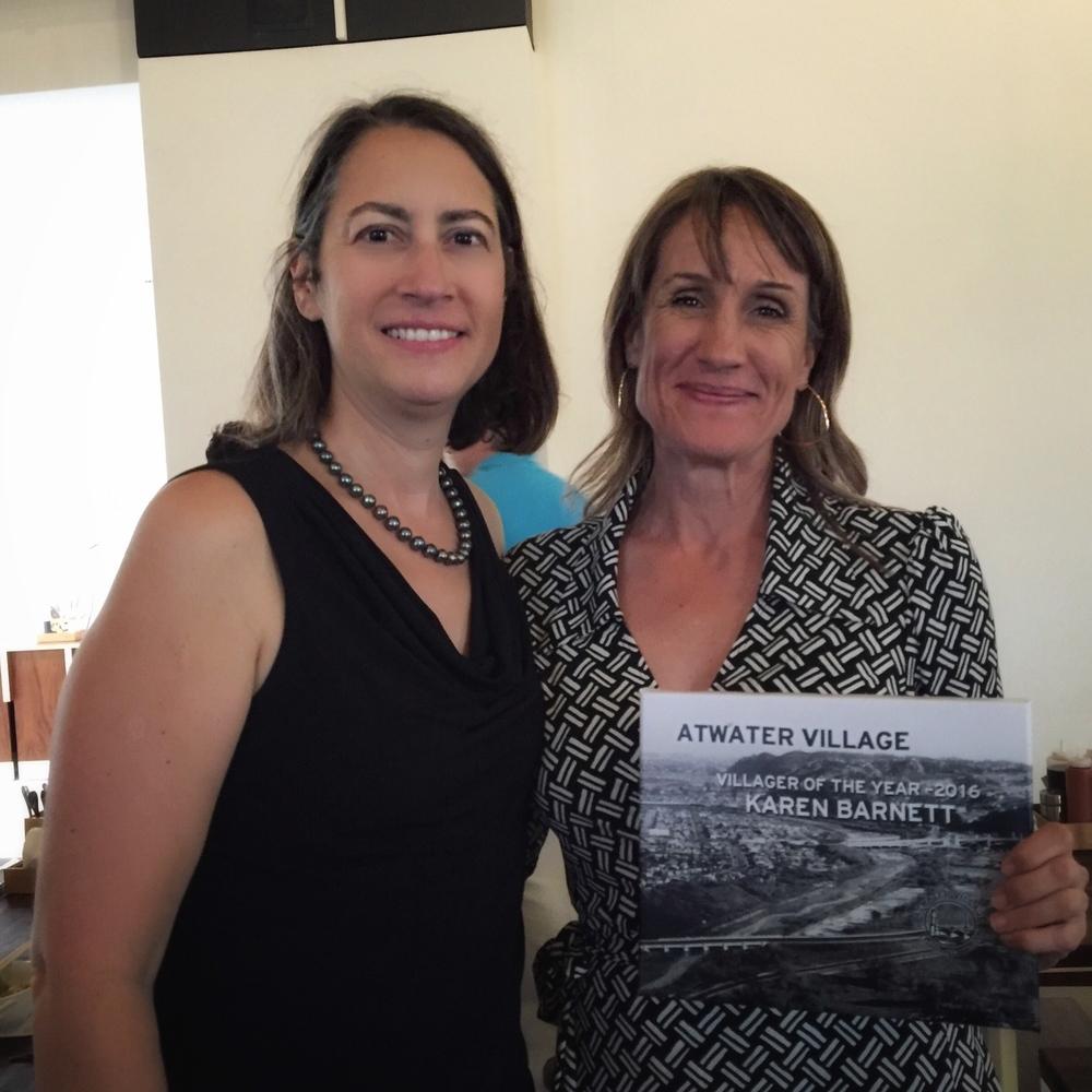 City of Glendale Councilmember Laura Friedman and Villager of the Year Karen Barnett