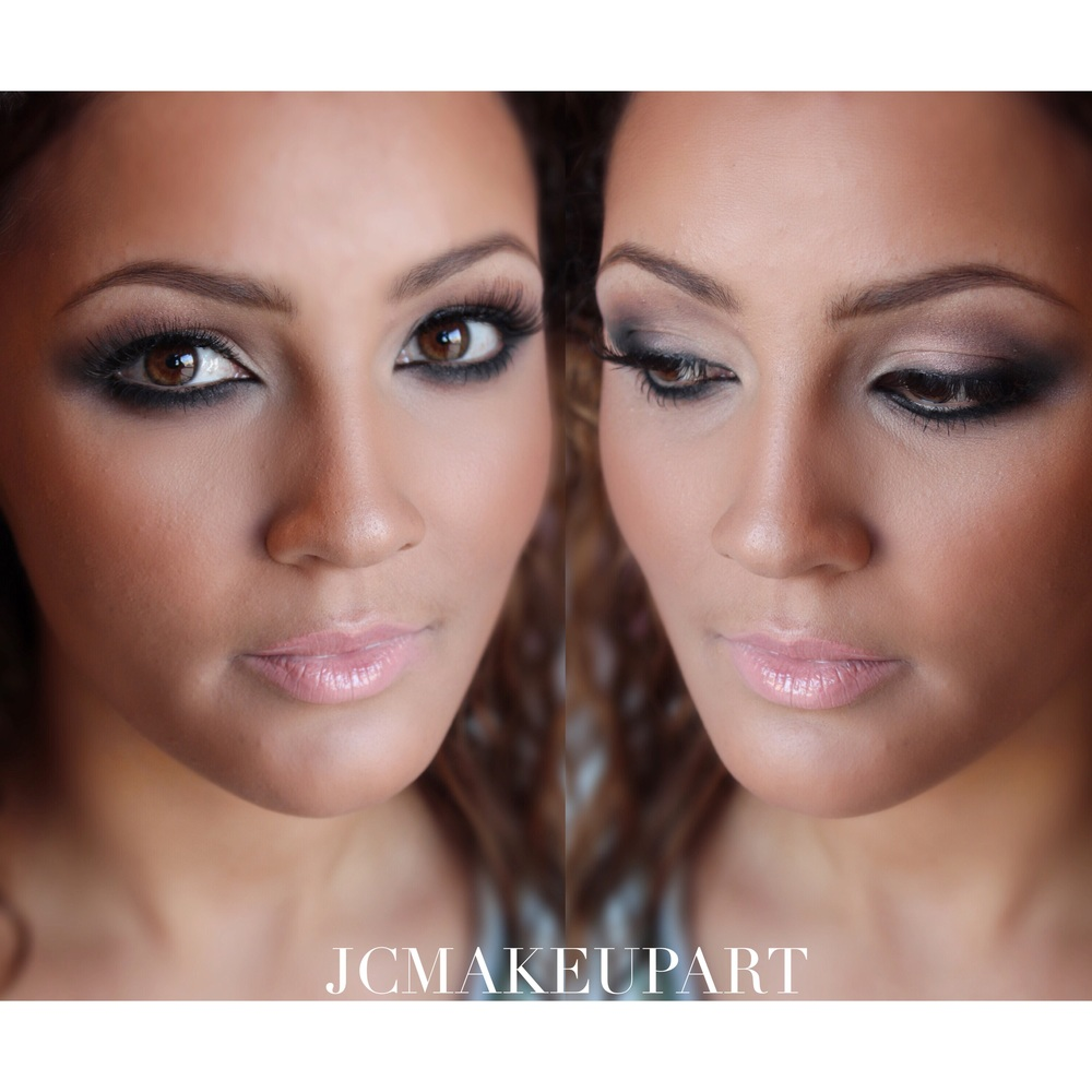 Smoked out eyes in these shades of taupe and neutral violets are amazing on her dark warm eyes. This look is balanced by the nuded out Myth lipstick by MAC topped with a pastel pink gloss.