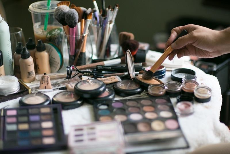 Makeup, makeup, makeup ... and coffee.
