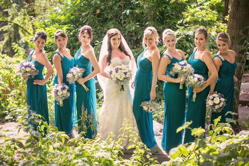 Effortless and Glowing: bridesmaid and Maid of Honor wore natural makeup looks to compliment the beautiful deep teal of their dresses. Warm Pinks and Coffee tones were used on the eyes to keep all ladies unified.