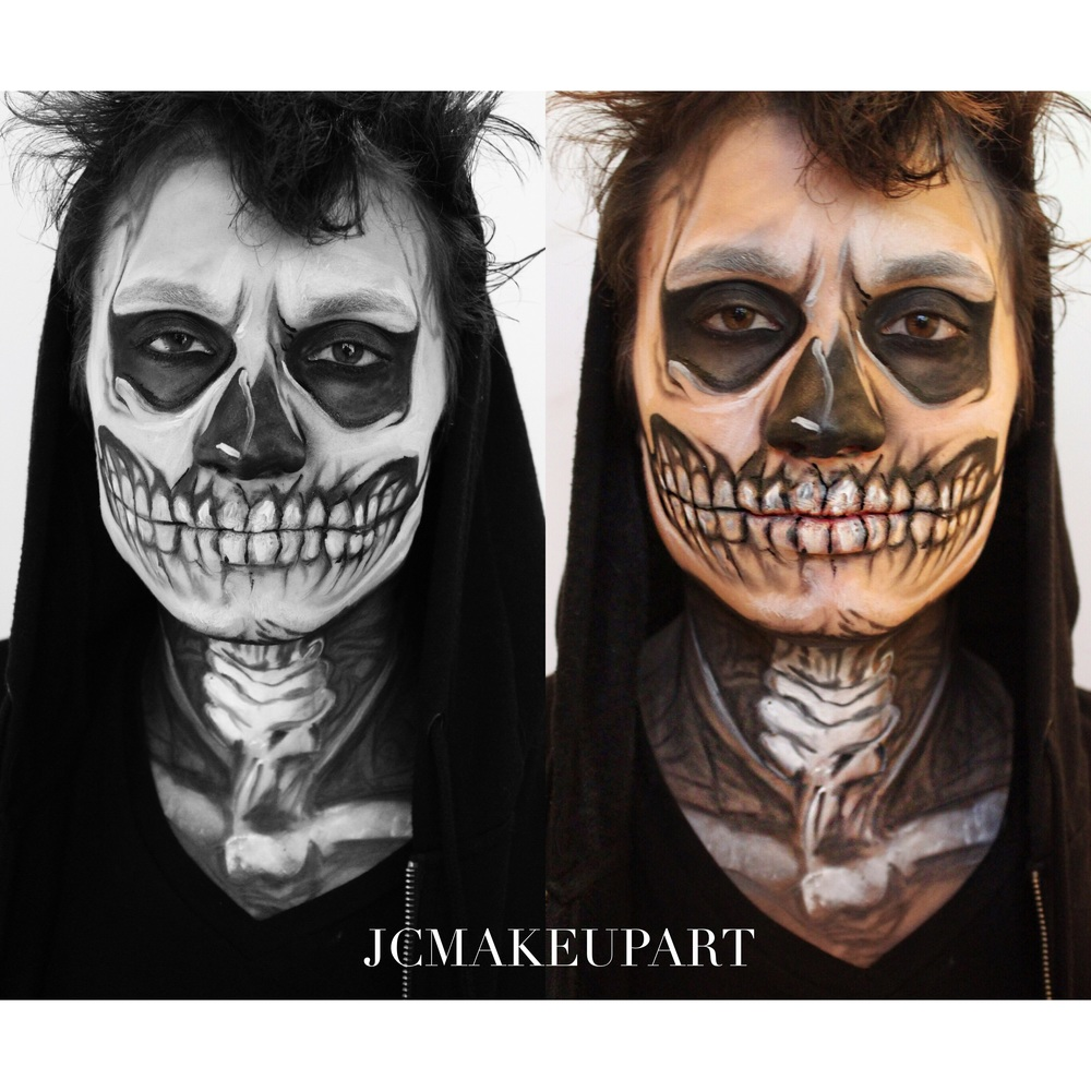 Inspired by the character Tate from American Horror Story Season One, this face and neck makeup was all about the detail. Using black and white makeup with a precision liner brush, it was more like drawing with a pencil than it was face painting.