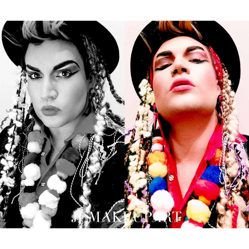 I had so much fun transforming in Boy George. Tons of color and tons of texture were needed to create this look. Big black eyebrows frame in the explosion of color.