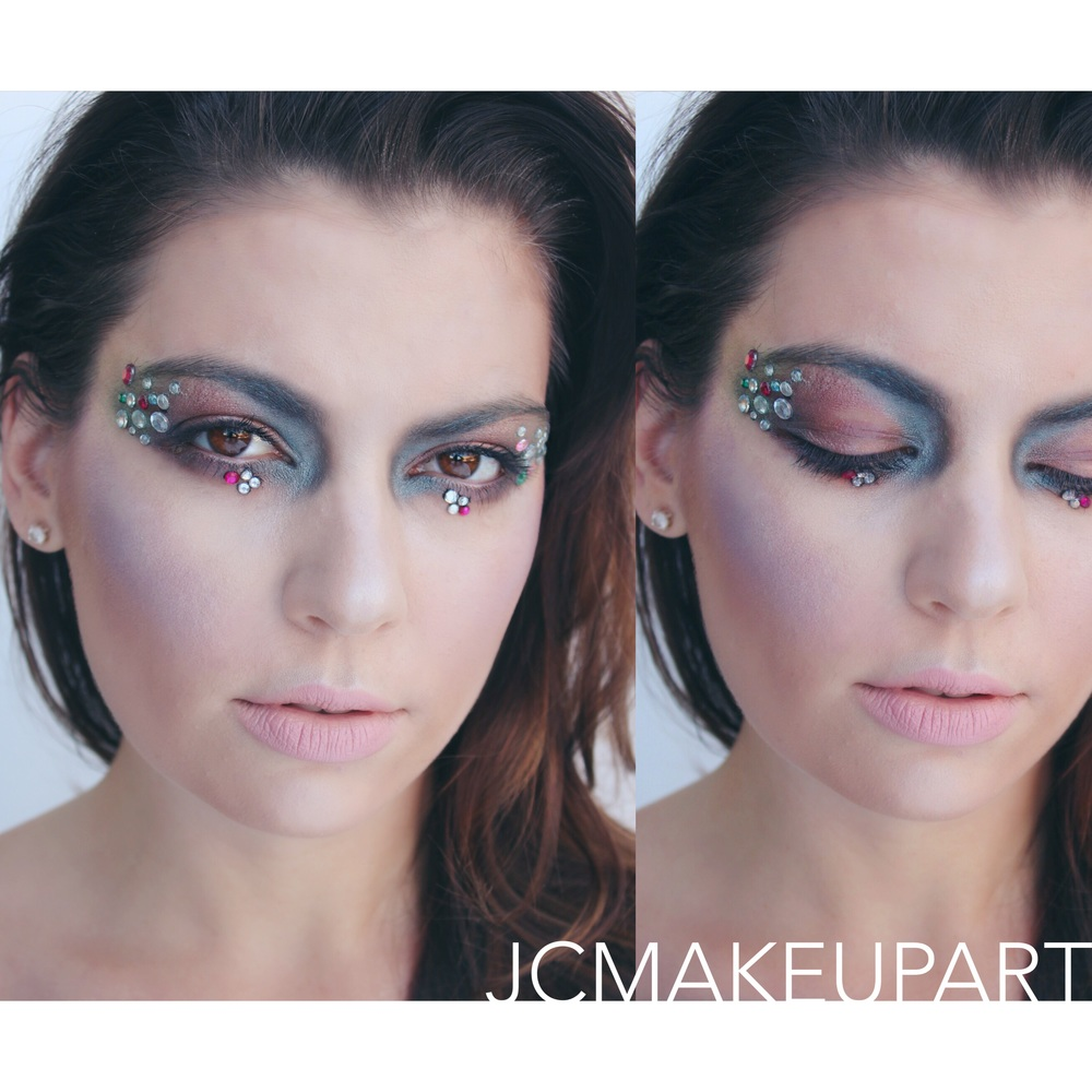Cool jewel-tones and embellished with rhinestones help create this mermaid makeup. See previous post for all products used.