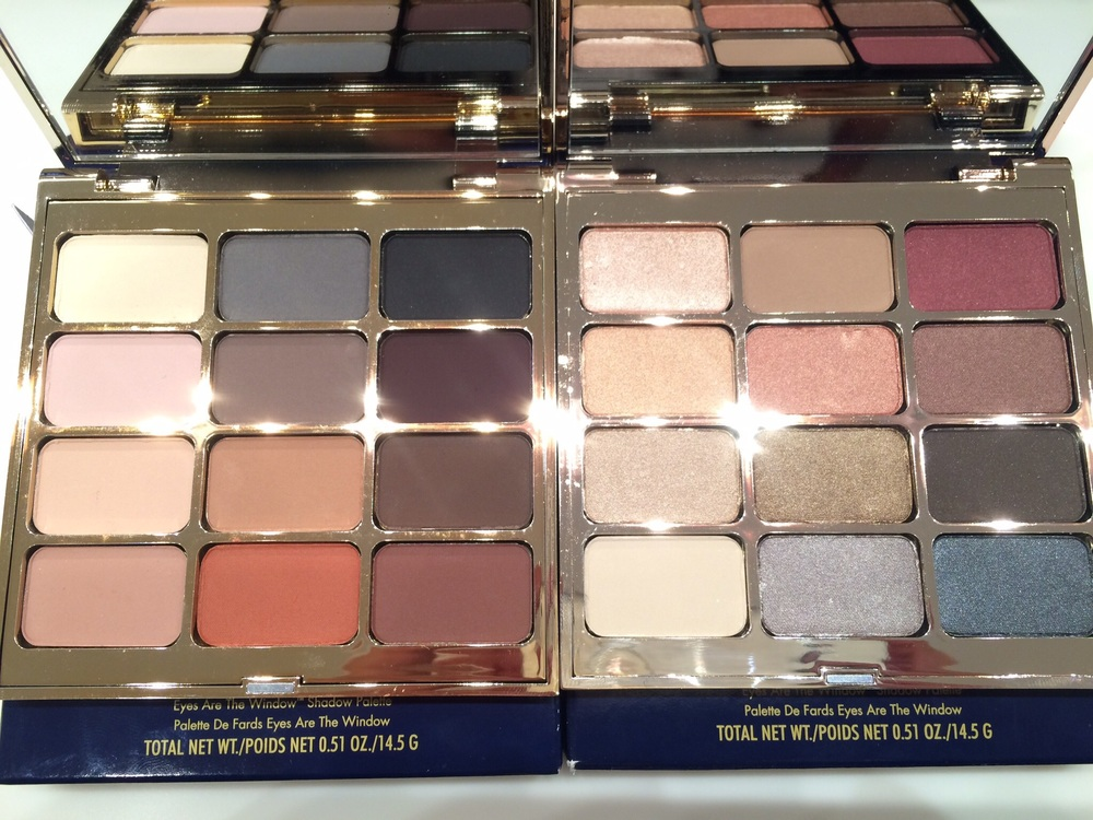 Two of the four new eyeshadow palettes from Stila Cosmetics. Mind (left) is twelve matte shadows ranging from highlighting shades of many tones to warm rich neutrals. Spirit (right) is a beautiful collection of shimmering shades of champagne and rosy golds as well as deeper shades of chocolate and pewter.