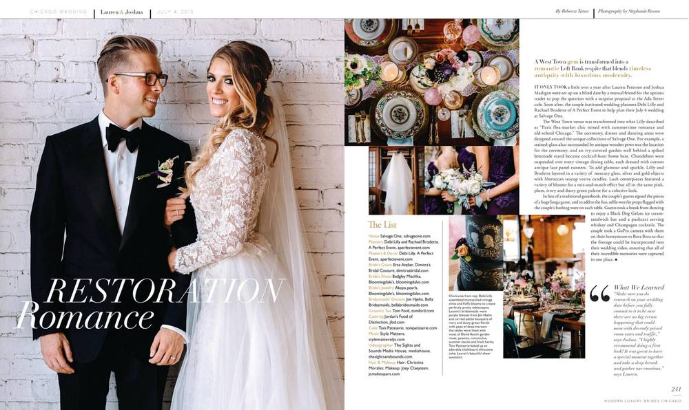 photos: Stephanie Bassos, publication: Modern Luxury Brides Chicago.