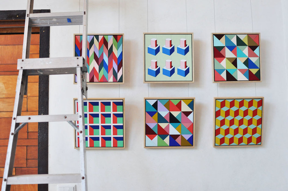 Freshly hung pieces by Emma Lipscombe | Image by Bec Tougas