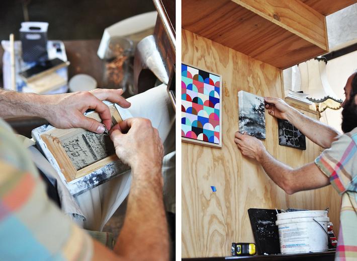AOHF resident art hanger Tom hard at work | Images by Bec Tougas
