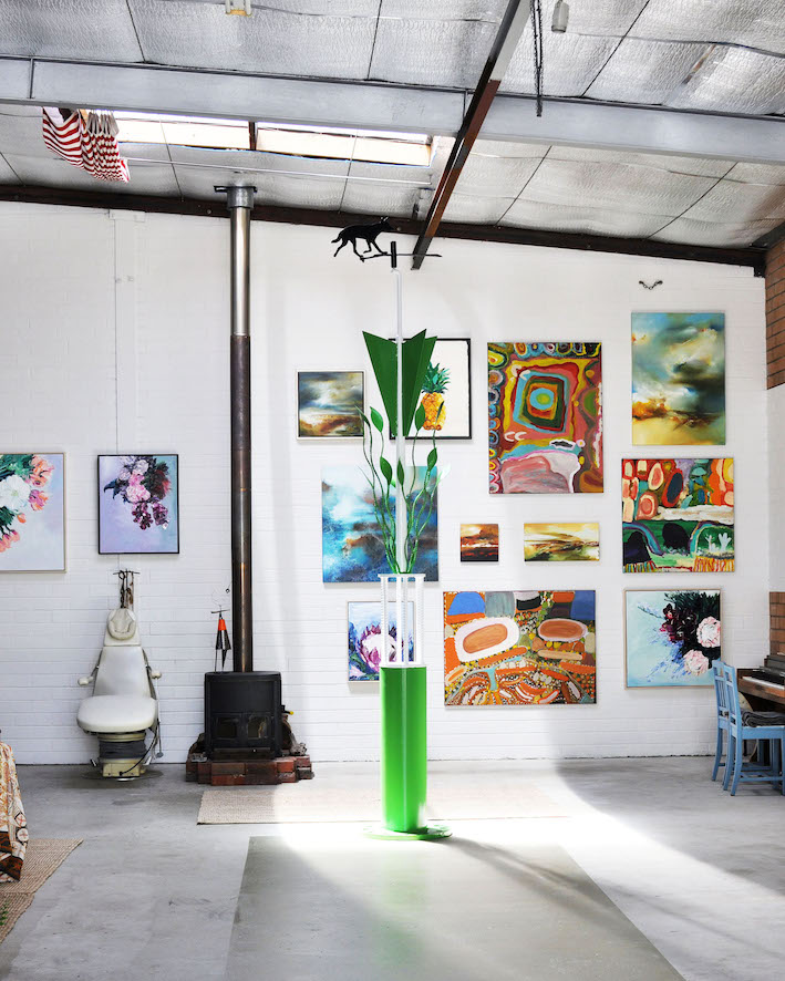 A wonderful Tony Jones sculpture is surrounded by pieces by Britt Dunbar, Amy French,and Joanne Duffy in this amazing warehouse space | Image by Bec Tougas