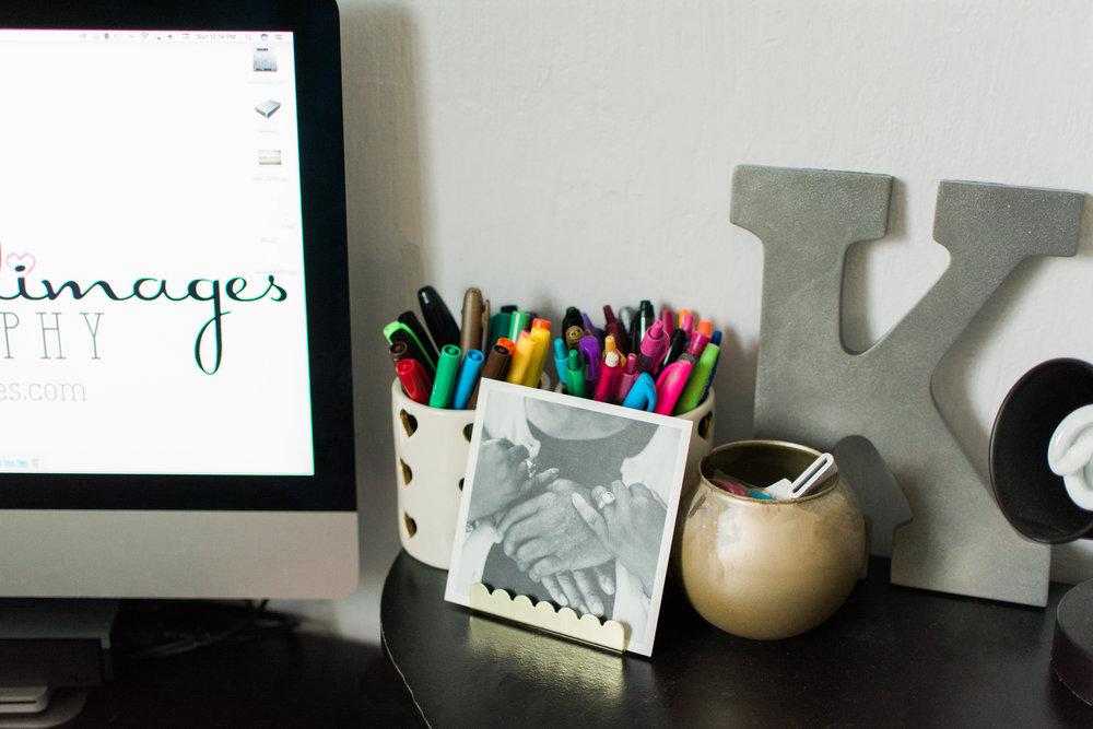 Desk prints, using a PopSugar© business card holder from Target©