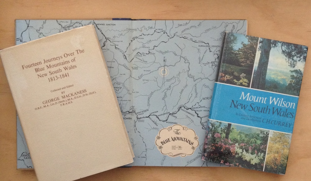 A selection of books on the Blue Mountains. The map forms the endpapers of Frank Hurley's Camera Study of The Blue Mountains and Jenolan Caves (Angus & Robertson Sydney 1952)