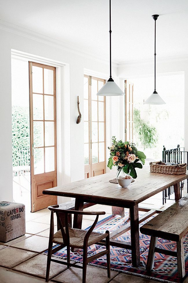 When in doubt, balance wood furniture with flowers to soften their look.