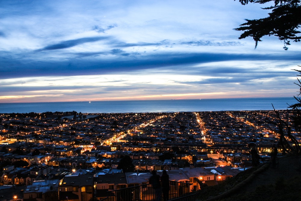 "One of the city's most secluded and romantic spots is Grand View Park (called ""Turtle Hill"" by the locals), situated on a hill surrounded by 14th and 15th Avenues and Noriega Street. Offering stunning 360-degree views of San Francisco, this park is perfect for sunset watching."