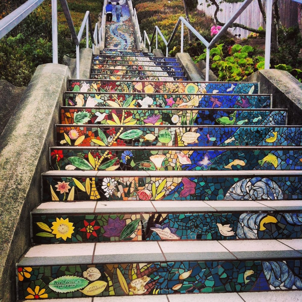 Inspired by the Selaron Steps in Rio de Janeiro, the Mosaic Stairway substitutes for Moraga Street between 15th and 16th Avenues and leads up to Grand View Park.