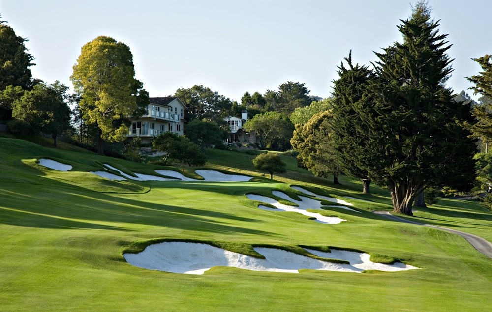 Lake Merced is surrounded by three golf courses: the private Olympic Club and San Francisco Golf Club, and the public TPC Harding Park.