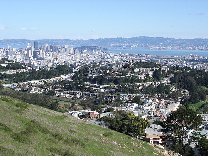Mount Davidson Park is a wooded area at the city's highest peak, featuring walking trails and sweeping urban vistas.