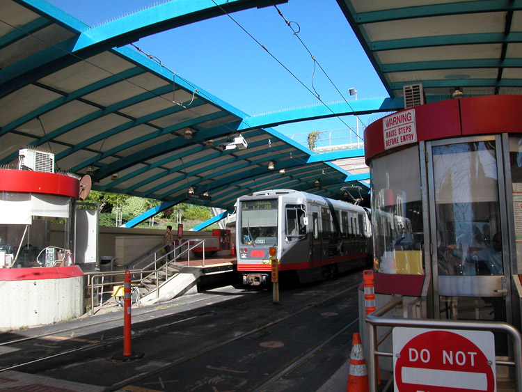 Built around the entrance to the Twin Peaks Tunnel, the West Portal MUNI Station offers access to the K, L, and M-MUNI lines.