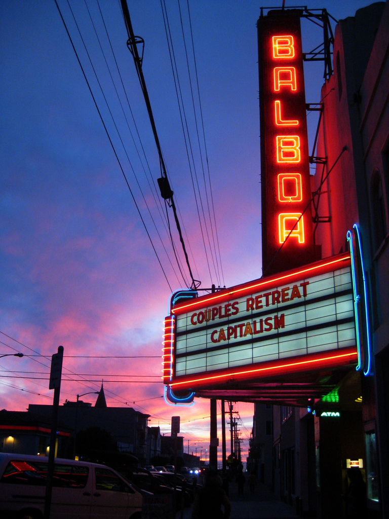 The historic Balboa Theatre specializes in European and Indie art flicks.