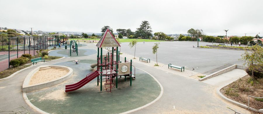 Aptos Park is an urban green space offering a children's playground, baseball diamond, tennis court and landscaped path.