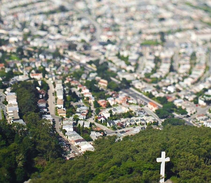 Mount Davidson Park is a wooded area at the city's highest peak that features hilly trails and sweeping urban vistas.