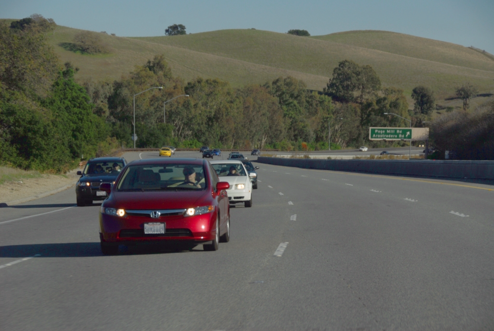 The 280 freeway offers commuters easy access to Silicon Valley.
