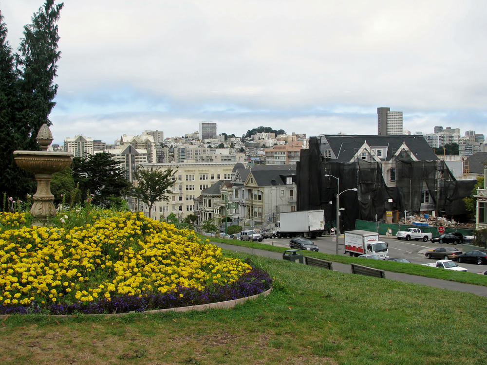 Alamo Square is a pretty hillside park with a playground, walking paths, and gorgeous views.