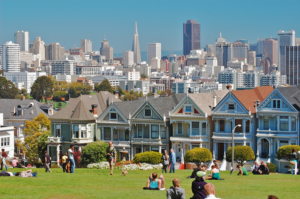 "The famous ""Painted Ladies"" are a row of beautifully preserved Queen Anne Victorian houses bordering Alamo Square—and one of the most photographed locations in San Francisco."