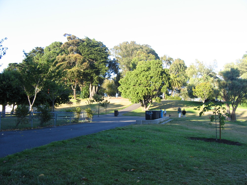 Lafayette Park offers grassy lawns, tennis courts, an off-leash dog play area, and beautiful views of the Bay.
