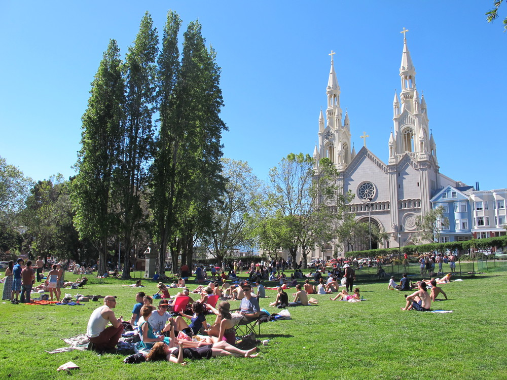 Historic Washington Square Park has a lawn the size of a city block where festivals and free movie nights are held.