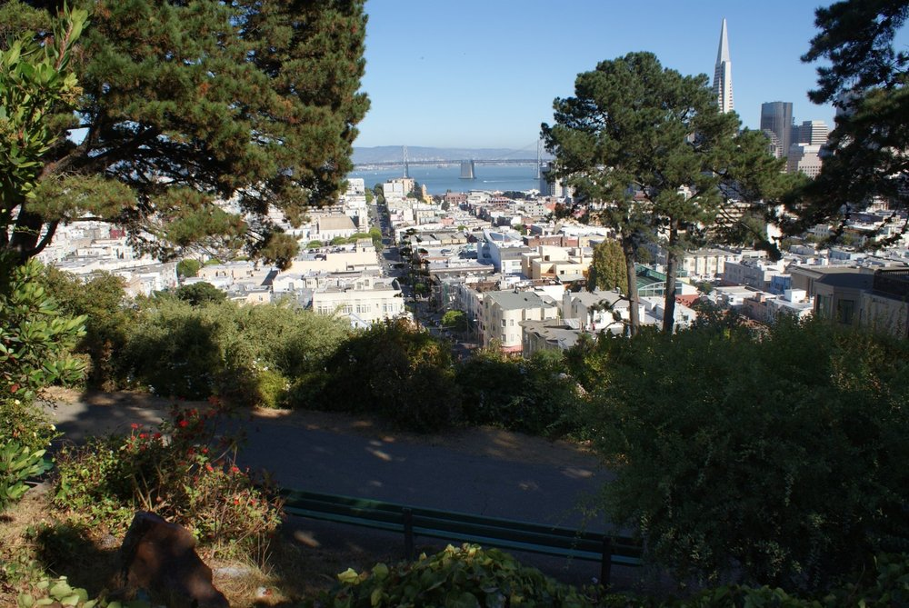 Tiny Ina Coolbrith Park, which sits on a steep hill, is one of Russian Hill's hidden gems.