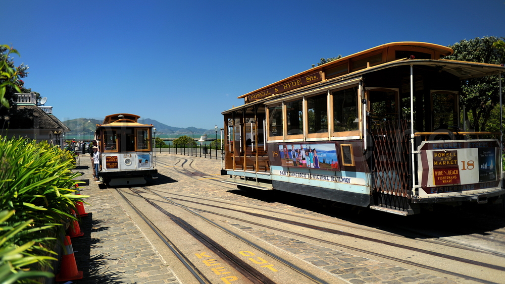 The Powell-Hyde cable car lines run to Aquatic Park at the edge of Fisherman's Wharf.