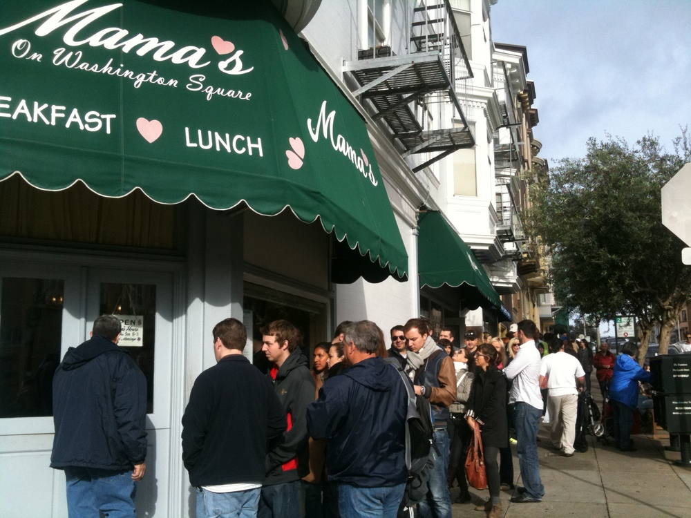 Regulars stand in line on weekends for the hearty brunch at Mama's on Washington Square.