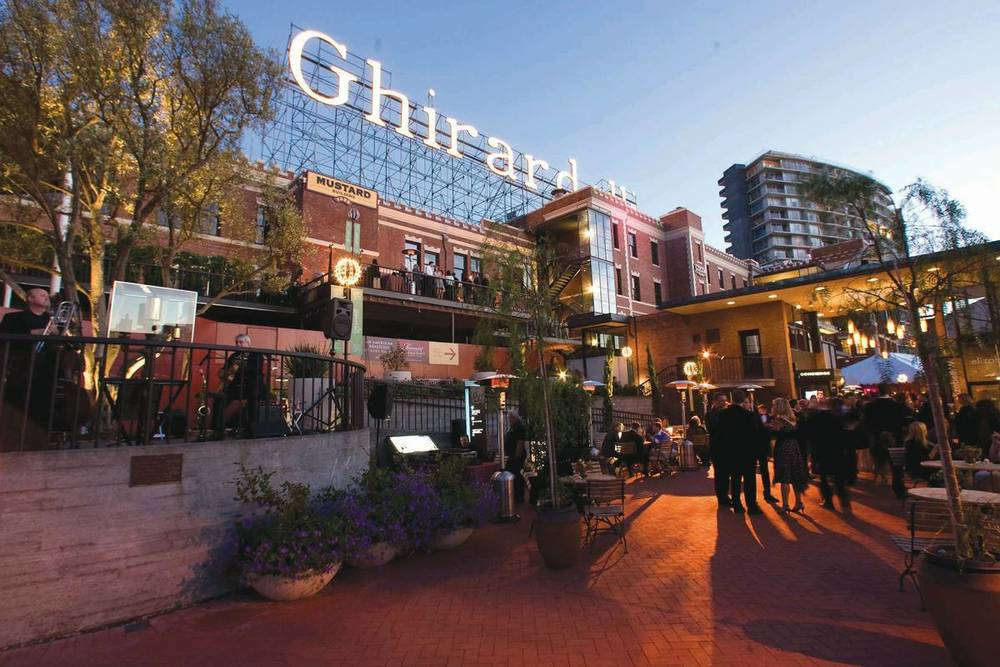 Ghirardelli Square is a landmark public square that's home to upscale shops, wine bars and the famed Ghirardelli chocolate company.