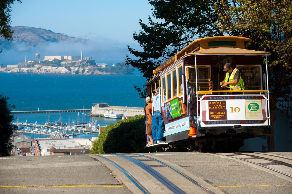 The Powell-Hyde cable car lines, which run from Aquatic Park at the edge of Fisherman's Wharf, are a San Francisco classic.