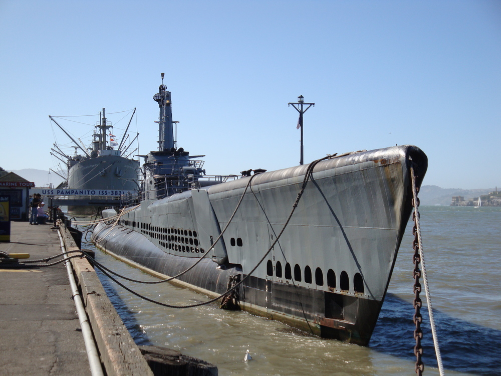 The USS Pampanito at Pier 45 is a restored WWII Navy vessel that now serves as a museum and memorial.