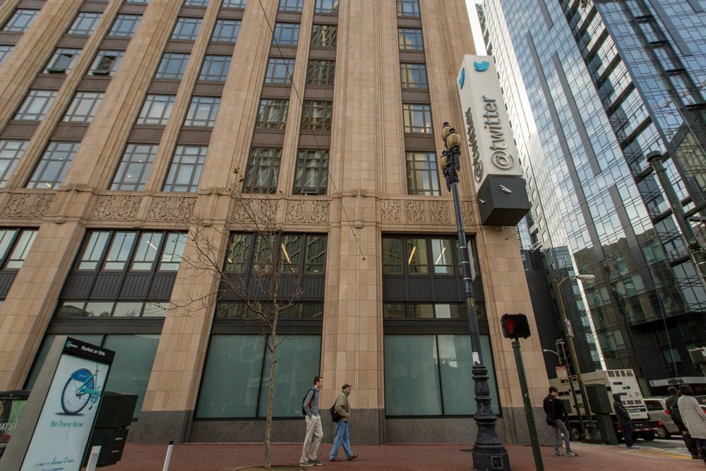 Twitter's 295,000-square-foot global headquarters is housed in a 1937 art deco building.