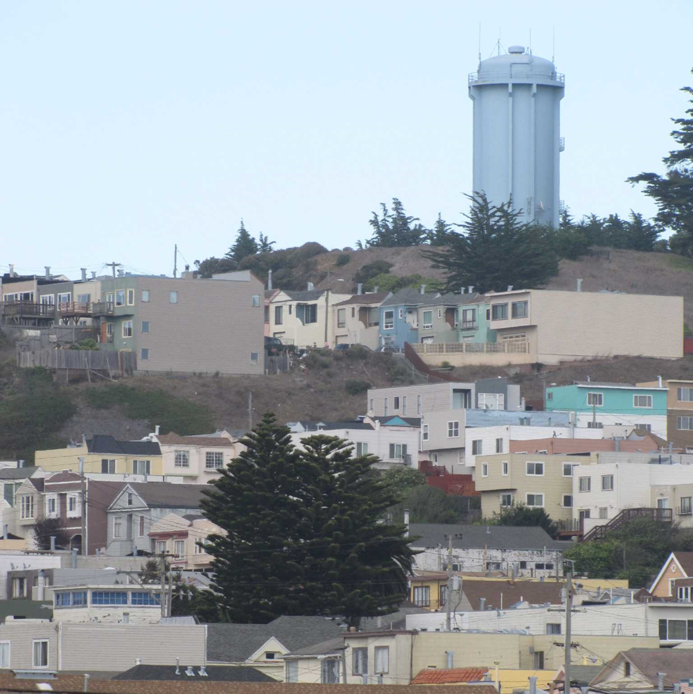 La Grande Tank in McLaren Park is visible from Interstate 280.