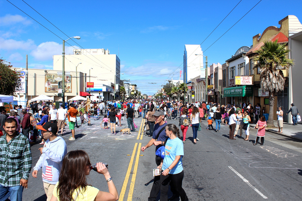 Sunday Streets in the Excelsior are family-friendly events featuring music and community-building activities.