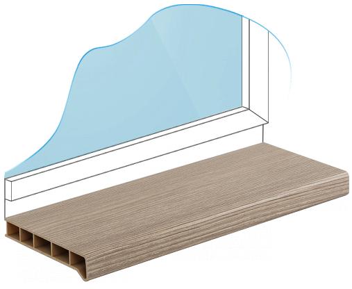 Подоконник из высокопрочного материала LIGNODUR. Основа — смесь ПВХ и древесной муки. Для соединения с многослойным ламинатом ELESGO-PLUS on top используется полиуретановый клей-расплав KLEIBERIT