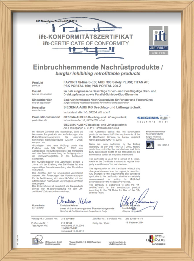 Сертификат IFT