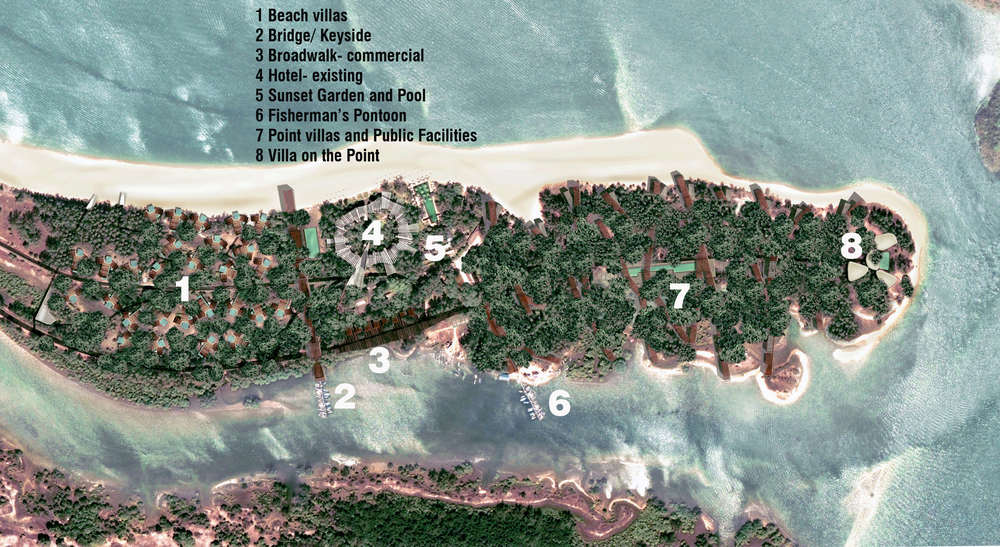 Master plan of the Point Villas on the point The point is where the land narrows due to the tidal erosion by the river. About half the area regularly floods at high tide. The lines of development all tend to run parallel with the two coasts; the front of trees to the beach, the main flood channels to the river, the existing central pathway that will become the access road. If we see these lines as the warp in the loom of the landscape, our proposal creates a settlement pattern that acts as the weft, weaving in an out of the trees joining the two banks and binding the landscape together.