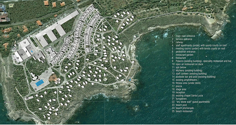 Club Med Cefalù- Site plan The project aims to do this by maintaining the existing landscape -particularly species which are unique to the site, and by adopting local building traditions and materials. The programmatic requirements nevertheless make quite heavy demands on the site in terms of the amount of building work planned. Raising the accommodation standard from camping in straw huts to 4star+ requires more overall built volume. We have sought to make this necessity compatible with the natural features of the site.