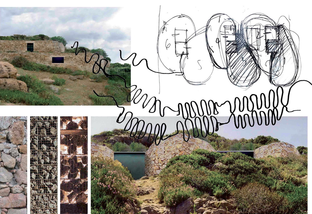 Dry stone walls building: project views; dry stone walls: material references, sketches Dry Stone Wall Guest Rooms The new project aims specifically to reinforce the site's original character particularly in the landscaping and planting as the dominant visible theme. The rooms and public spaces are designed to meet the standards of a modern hotel while the atmosphere and walkways are more in line with the resort rather than a large seaside hotel.