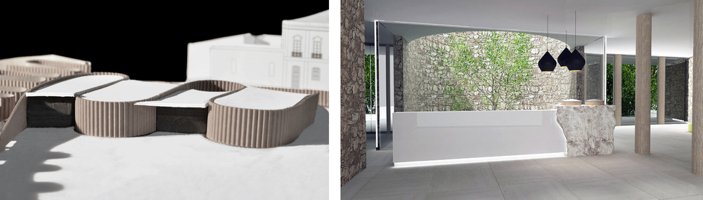 "study model and Reception desk with walled garden behind Interior (Render- Atelier Sophie Jacqmin)  It also encloses, in an open walled garden, one on the existing trees seen behind the main reception desk. The wall itself varies in construction from solid to ""open-grain"" to allow natural light to filter in to the main spaces."