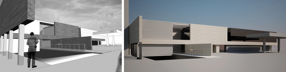 rendering of entrance- towards petrol station forecourt