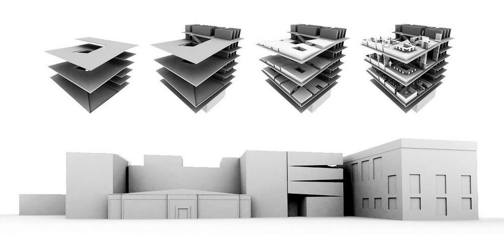 "top view: from left to right: reading room ramps, reading room ramps+entrance level, levelling blocks, furnishing arrangement    bottom view: study model of library extension inserted in the university building       Externally, the new volume is placed next to a central block of lecture rooms of the ""E"" shaped plan. Although it is carefully aligned with the existing volume and clad in the same brick, the new block nevertheless assertively declares its modernity in the play of suspended volumes in light and shade."