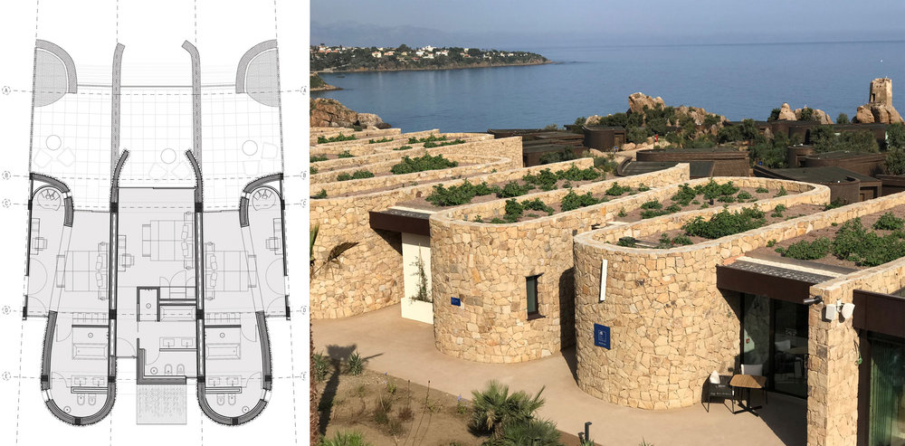 dry stone wall buildings_ plan and photo   The walls curve in a sinusoidal pattern creating interior and exterior spaces which make up the guest rooms will adapt  themselves to the slope of the terrain. The dry stone wall has traditionally been used in this area for terracing in but in this case we have made it inhabitable.
