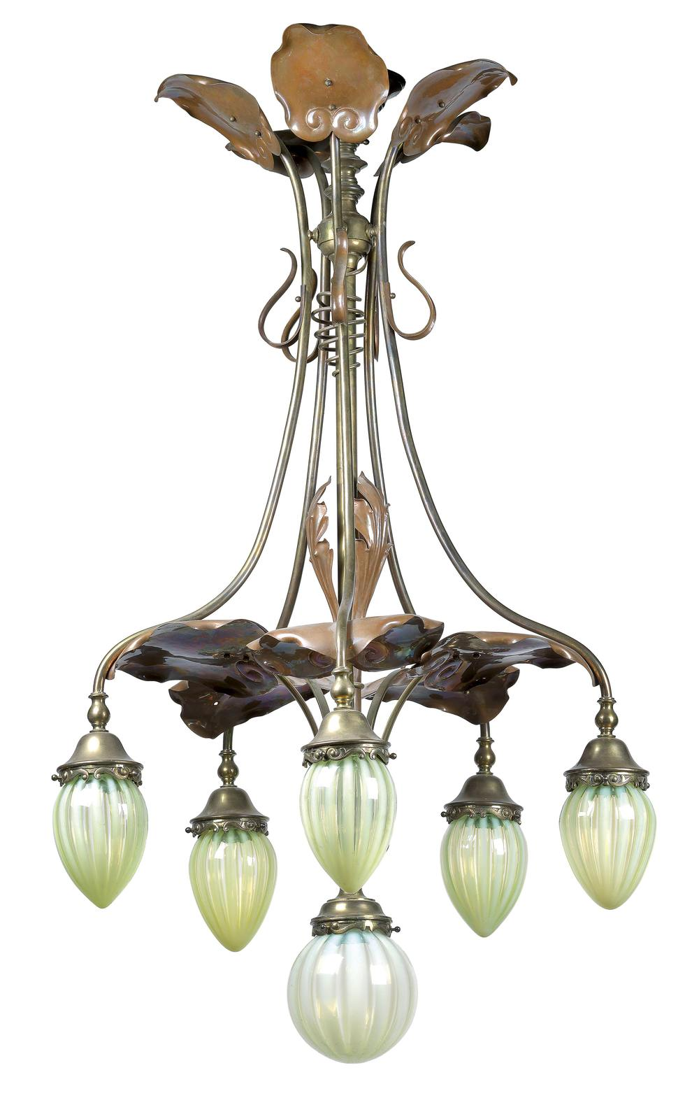 W.A.S Benson & Co. London, A Copper, Brass and Green Glass Chandelier, c.1900 Dorotheum Vienna