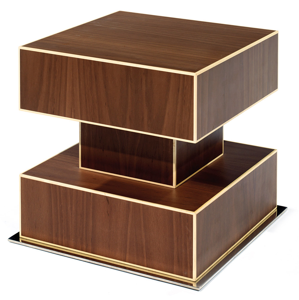 Ettore Sottsass (1917-2007) & Oak Design, Rosewood Veneer and steel plate side table, Tajan Paris