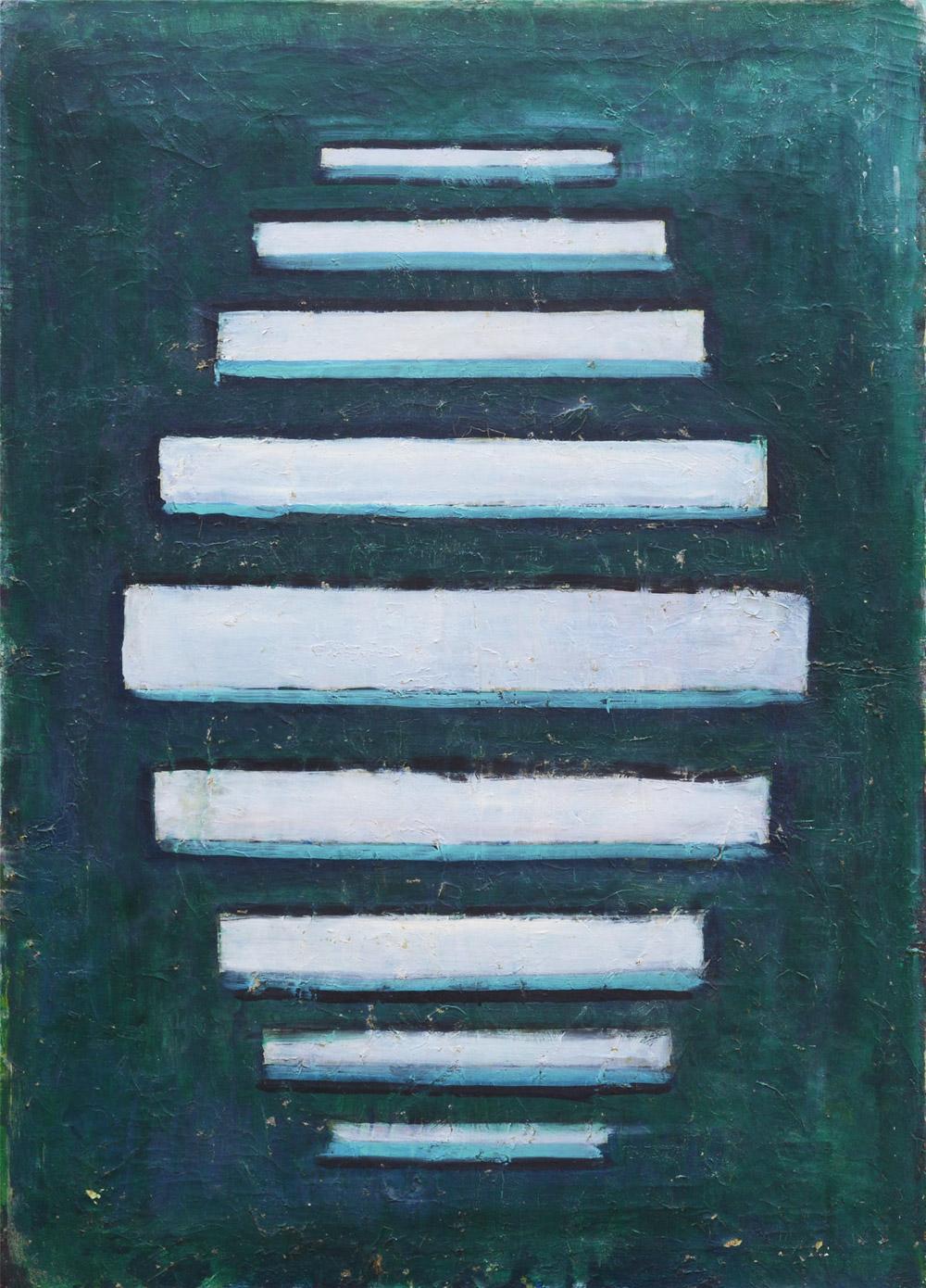 Senza titolo, 1960  olio su tela, 110x80 cm Premessa ai quadri metallici